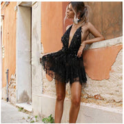 Sequin Strings Mini Dress - MaestosoRosso_Fashion_Store