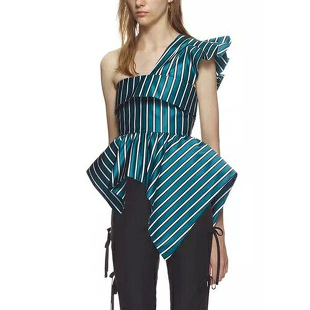 Striped Asymmetrical One Shoulder Tunic - MaestosoRosso_Fashion_Store