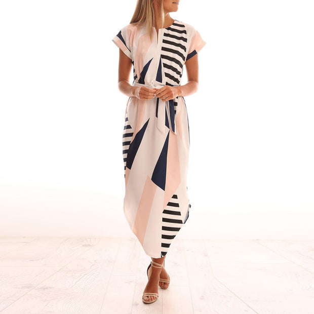 Casual Short Sleeve Printed Stripe Dress With Belt - MaestosoRosso_Fashion_Store