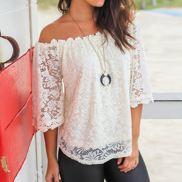 Off Shoulder Lace Blouse - MaestosoRosso_Fashion_Store
