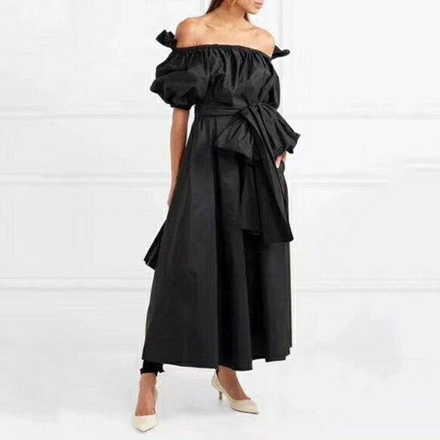 Voluminous Off-Shoulder Bow Dress - MaestosoRosso_Fashion_Store