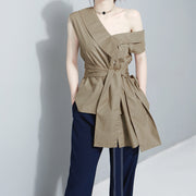 Sleeveless Asymmetrical Sashes Tunic - MaestosoRosso_Fashion_Store
