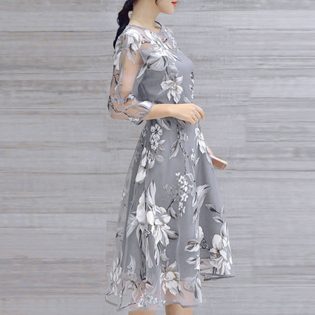 Summer Floral Print Organza Cocktail Dress - MaestosoRosso_Fashion_Store
