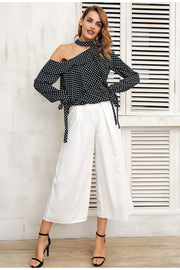 One Shoulder Polka Dot Blouse - MaestosoRosso_Fashion_Store