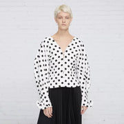 Voluminous Sleeved High Fashion Blouse - MaestosoRosso_Fashion_Store