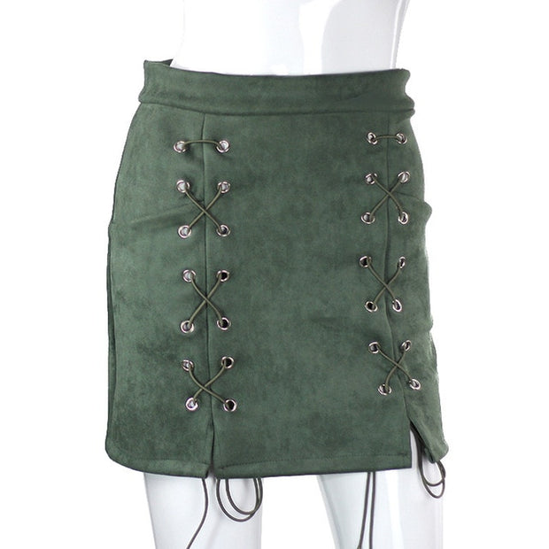 Lace-up Suede Mini Skirt - MaestosoRosso_Fashion_Store