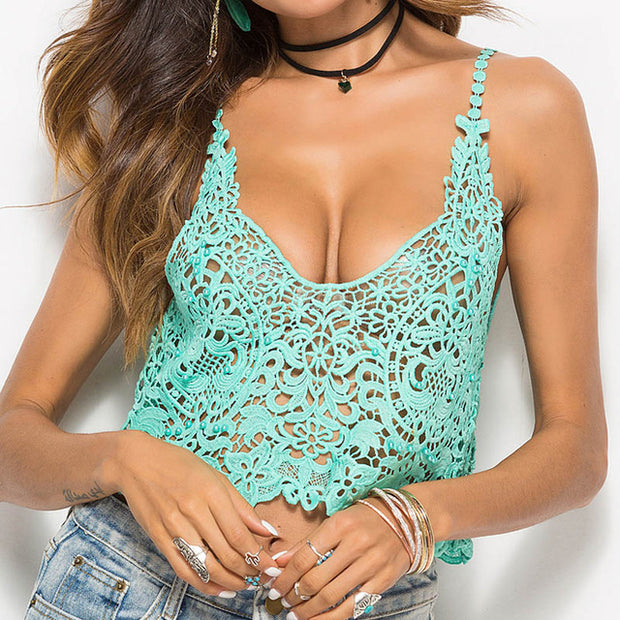 Sexy Hollow Out Casual Crop Top - MaestosoRosso_Fashion_Store