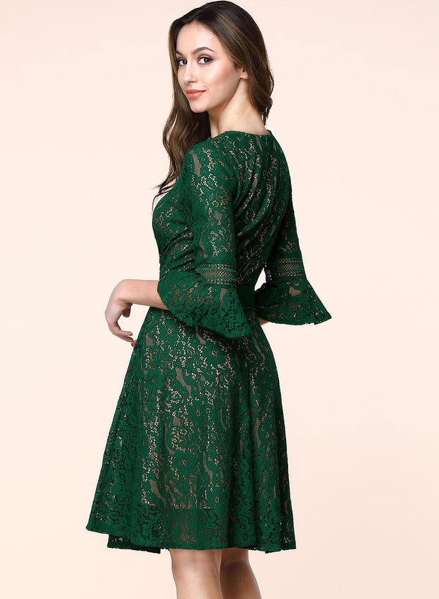 Cocktail Vintage Bell Sleeve A-Line Dress - MaestosoRosso_Fashion_Store