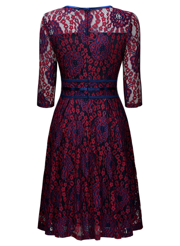 Vintage Floral Evening Lace Party Dress - MaestosoRosso_Fashion_Store