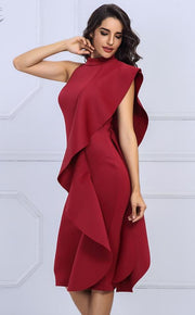 Vertical Ruffle Feminine Event Dress - MaestosoRosso_Fashion_Store