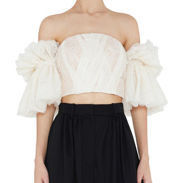 Romantic Off Shoulder Embroidered Top - MaestosoRosso_Fashion_Store
