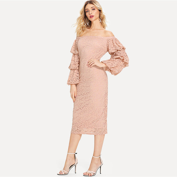 Pink Elegant Tiered Layer Long Sleeve Dress - MaestosoRosso_Fashion_Store