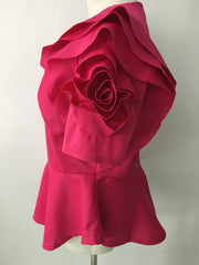 Ruffle Rose-Sleeved Asymmetric Hem Blouse - MaestosoRosso_Fashion_Store