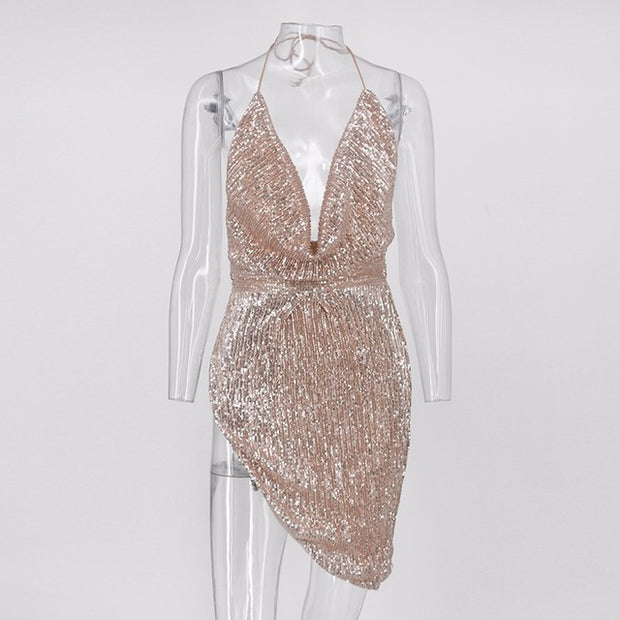 Deep Cleavage Mini Sequin Dress - MaestosoRosso_Fashion_Store