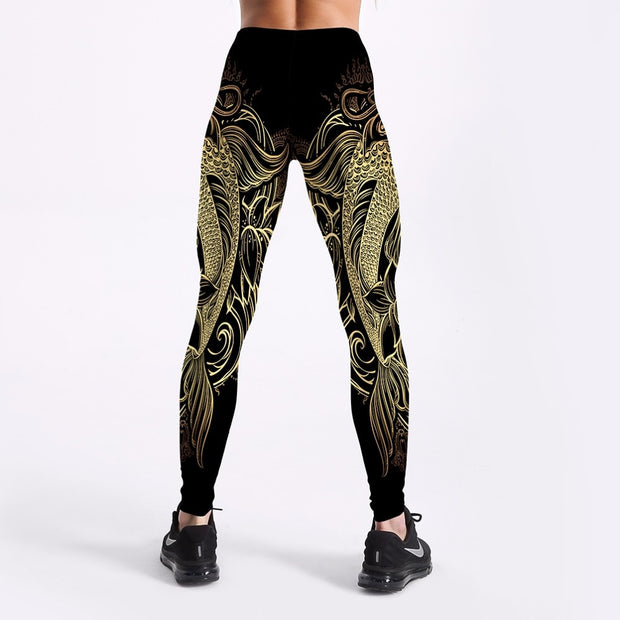 Golden Dragon/ Snowflakes Leggings - MaestosoRosso_Fashion_Store