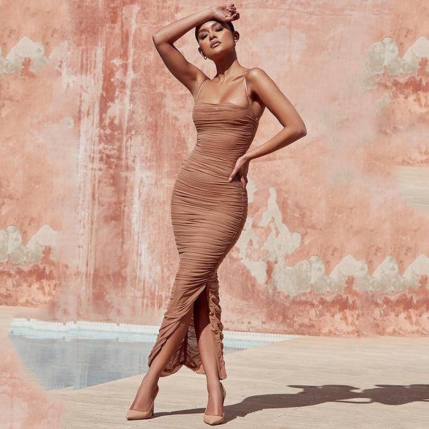 Ruched Nude Color Maxi Dress - MaestosoRosso_Fashion_Store