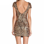 Geometric Gold/Silver Bodycon Dress - MaestosoRosso_Fashion_Store
