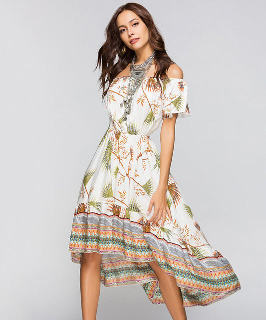Off Shoulder Bohemian Mid-Calf Dress - MaestosoRosso_Fashion_Store