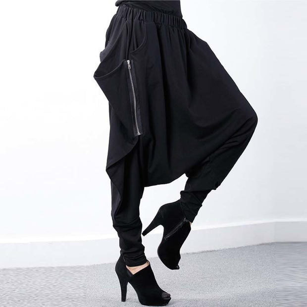 Black Baggy Low-Crotch Zipper Pants - MaestosoRosso_Fashion_Store