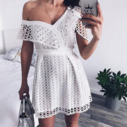 Asymmetric Off-Shoulder Mini Lace Dress - MaestosoRosso_Fashion_Store
