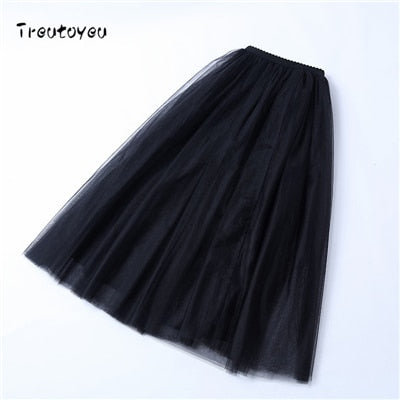 5 Layers Ballerina Maxi Skirt - MaestosoRosso_Fashion_Store