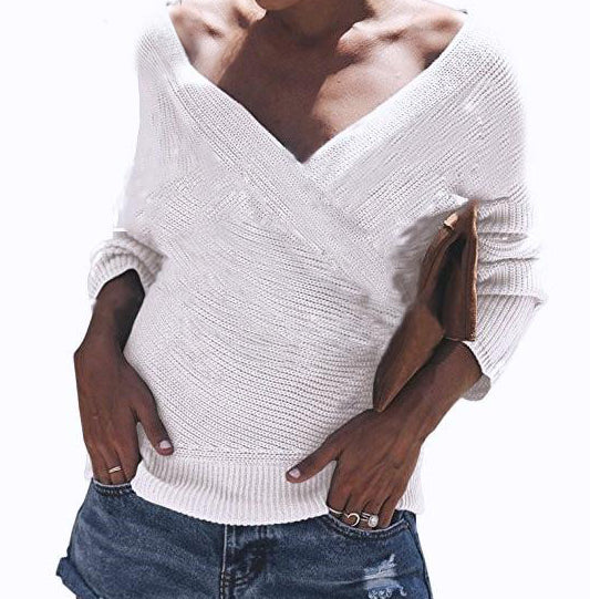 V-Neck Cross Knitted Sweater - MaestosoRosso_Fashion_Store