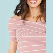 Crisscross Front Striped Ribbed Top - MaestosoRosso_Fashion_Store