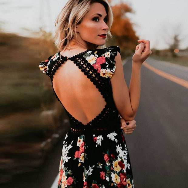 Backless Flower Print Lace Maxi Dress - MaestosoRosso_Fashion_Store
