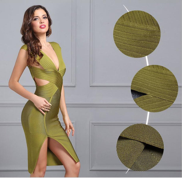 V-Neck Backless Bandage Dress - MaestosoRosso_Fashion_Store