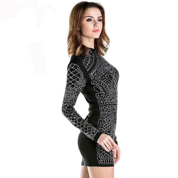 Geometric Rhinestone High-Necked Dress - MaestosoRosso_Fashion_Store