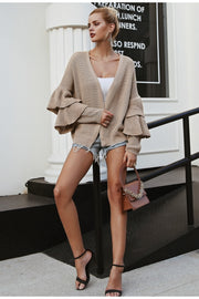 Ruffle Sleeve Casual Cardigan - MaestosoRosso_Fashion_Store