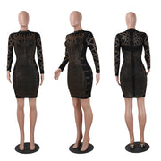Rhinestone Embellished Bodycon Mini Dress - MaestosoRosso_Fashion_Store