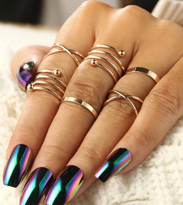 """Golden Spiral"" 5pcs Ring Set - MaestosoRosso_Fashion_Store"