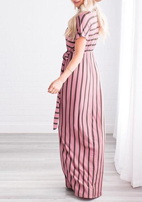 Striped Loose Maxi Dress - MaestosoRosso_Fashion_Store