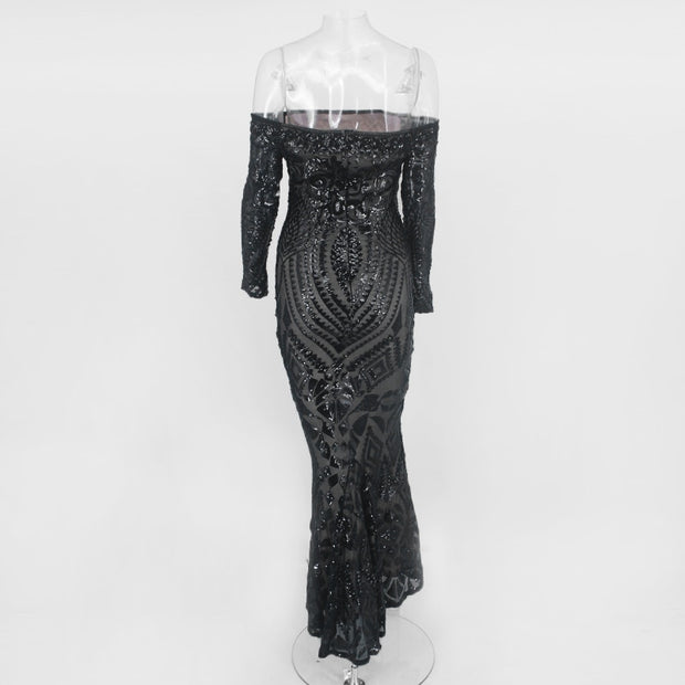 Flawless Sequin Evening Dress - MaestosoRosso_Fashion_Store