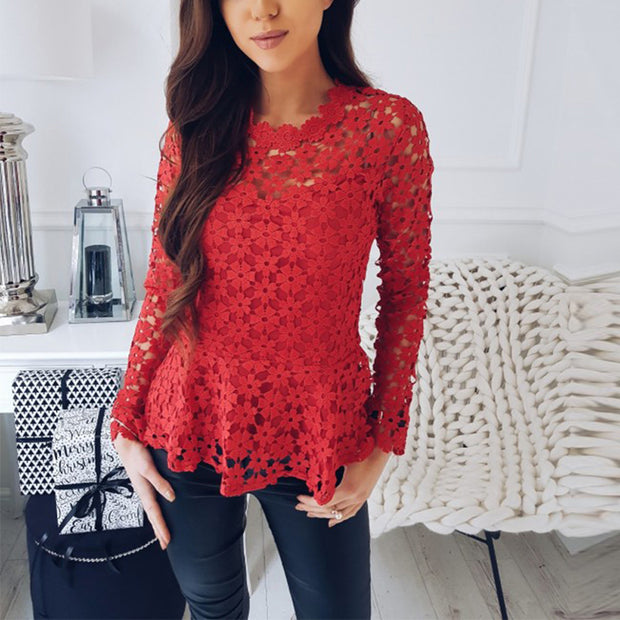 Flowers Lace Long Sleeve Blouse - MaestosoRosso_Fashion_Store
