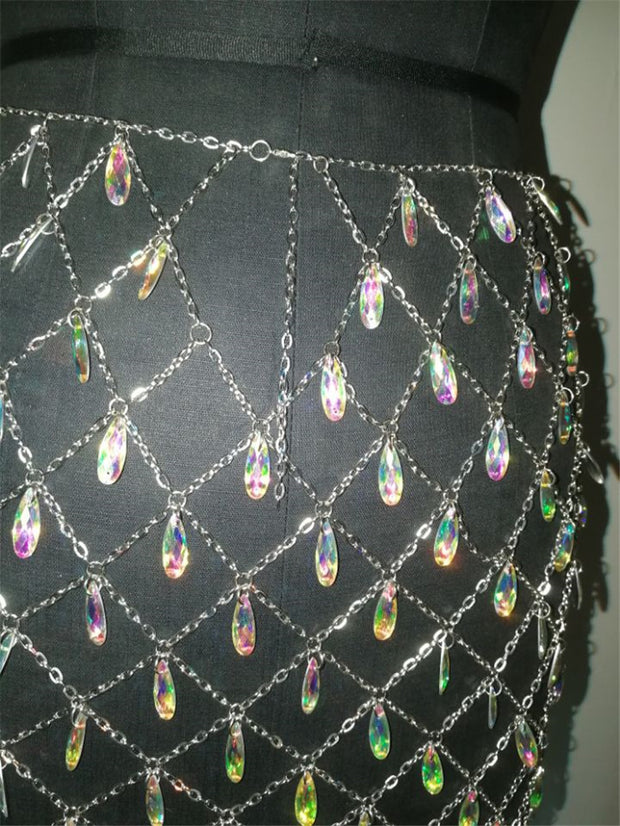 Metal & Crystal Body Chain - MaestosoRosso_Fashion_Store