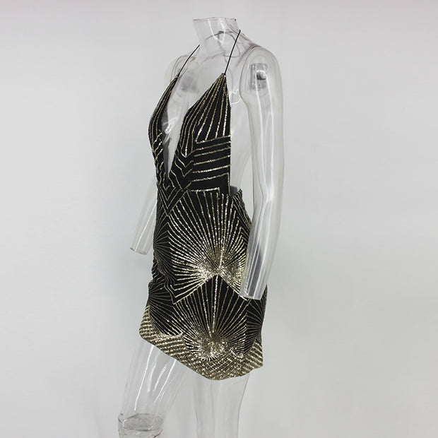 Golden Dust Sequin Dress - MaestosoRosso_Fashion_Store