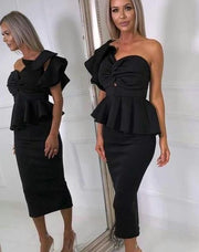 One Shoulder Ruffle Asymmetric Dress - MaestosoRosso_Fashion_Store
