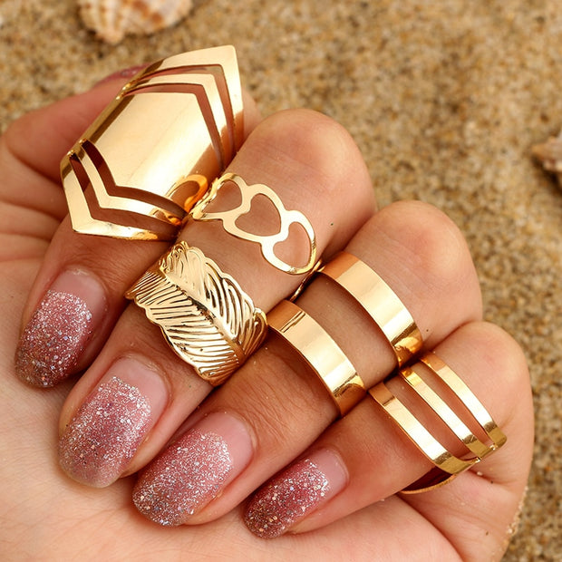 """Golden Arrow"" 5pcs Ring Set - MaestosoRosso_Fashion_Store"