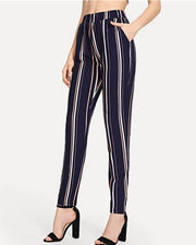 Elastic Waist Pencil Striped Pants - MaestosoRosso_Fashion_Store