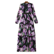 Purple Floral Cascading Ruffle Printed Dress - MaestosoRosso_Fashion_Store