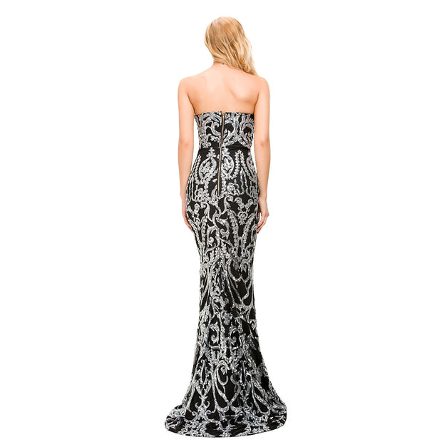 Queen Sequined Ornamented Dress - MaestosoRosso_Fashion_Store