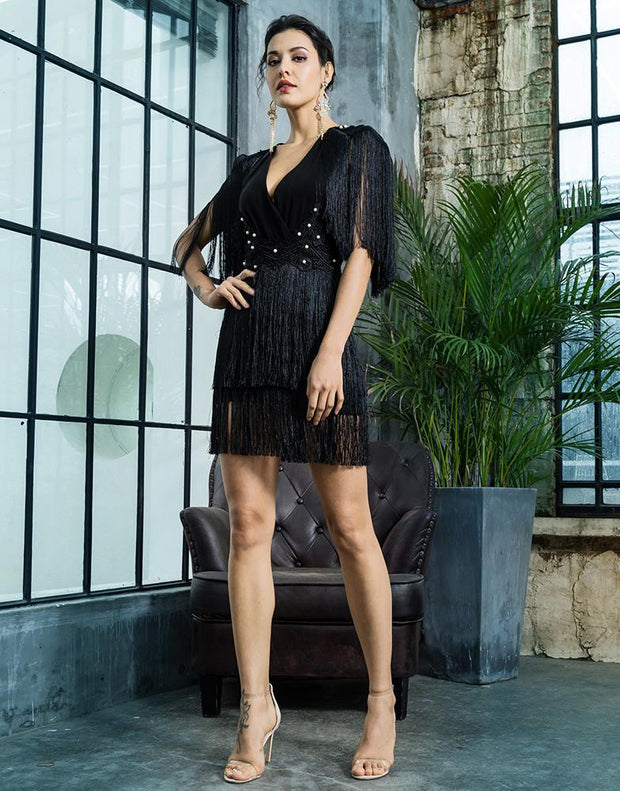 V-Neck Fringe Open Back Beaded Dress - MaestosoRosso_Fashion_Store