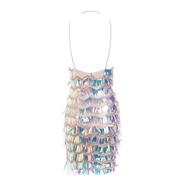 V-Neck Mesh Liquid Sequin Dress - MaestosoRosso_Fashion_Store