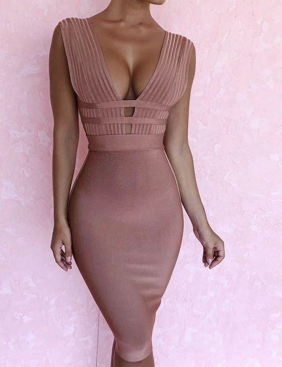 Plunge Deep V-Neck Bodycon Dress - MaestosoRosso_Fashion_Store