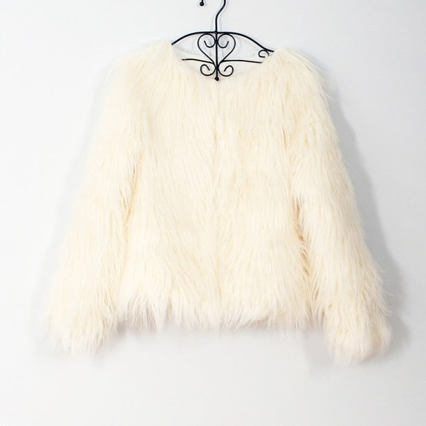 Faux Long Fur Coat - MaestosoRosso_Fashion_Store
