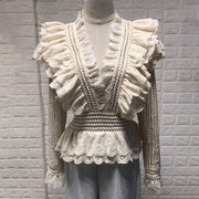 Runway Lace V-Neck Ruffle Blouse - MaestosoRosso_Fashion_Store
