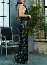 Green Wave Tassel Sequins Dress - MaestosoRosso_Fashion_Store