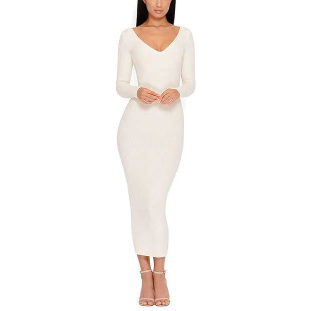 Ribbed Sexy Bodycon Dress - MaestosoRosso_Fashion_Store